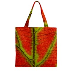 Nature Leaves Zipper Grocery Tote Bag