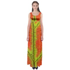 Nature Leaves Empire Waist Maxi Dress