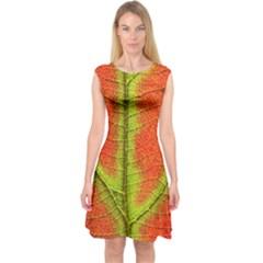 Nature Leaves Capsleeve Midi Dress