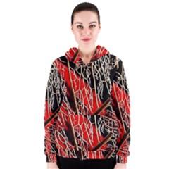 Leaf Pattern Women s Zipper Hoodie
