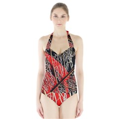 Leaf Pattern Halter Swimsuit