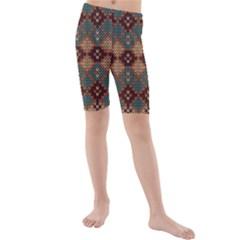 Knitted Pattern Kids  Mid Length Swim Shorts