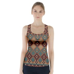 Knitted Pattern Racer Back Sports Top