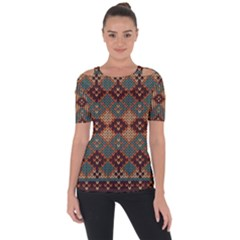 Knitted Pattern Short Sleeve Top