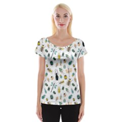 Insect Animal Pattern Cap Sleeve Tops