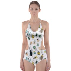 Insect Animal Pattern Cut Out One Piece Swimsuit