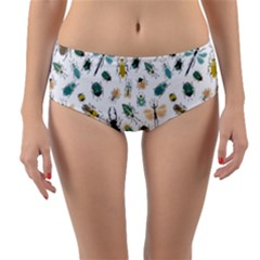 Insect Animal Pattern Reversible Mid Waist Bikini Bottoms
