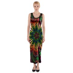 Kaleidoscope Patterns Colors Fitted Maxi Dress