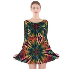 Kaleidoscope Patterns Colors Long Sleeve Velvet Skater Dress