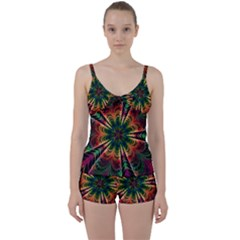 Kaleidoscope Patterns Colors Tie Front Two Piece Tankini