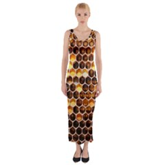 Honey Honeycomb Pattern Fitted Maxi Dress