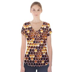 Honey Honeycomb Pattern Short Sleeve Front Detail Top