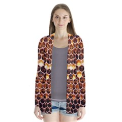 Honey Honeycomb Pattern Drape Collar Cardigan