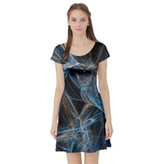 Fractal Tangled Minds Short Sleeve Skater Dress