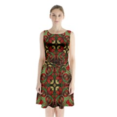 Fractal Kaleidoscope Sleeveless Waist Tie Chiffon Dress