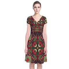 Fractal Kaleidoscope Short Sleeve Front Wrap Dress