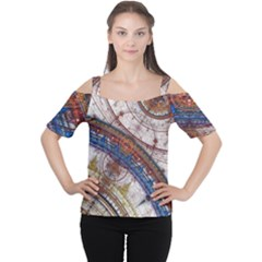 Fractal Circles Cutout Shoulder Tee