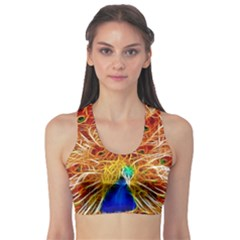 Fractal Peacock Art Sports Bra