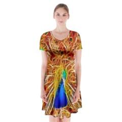 Fractal Peacock Art Short Sleeve V Neck Flare Dress
