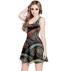 Fractal Art Pattern Flower Art Background Clored Reversible Sleeveless Dress