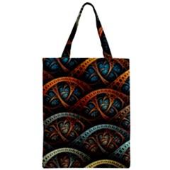 Fractal Art Pattern Flower Art Background Clored Zipper Classic Tote Bag