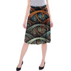 Fractal Art Pattern Flower Art Background Clored Midi Beach Skirt