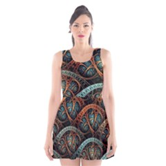 Fractal Art Pattern Flower Art Background Clored Scoop Neck Skater Dress