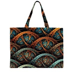 Fractal Art Pattern Flower Art Background Clored Zipper Large Tote Bag