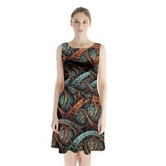 Fractal Art Pattern Flower Art Background Clored Sleeveless Waist Tie Chiffon Dress