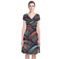 Fractal Art Pattern Flower Art Background Clored Short Sleeve Front Wrap Dress