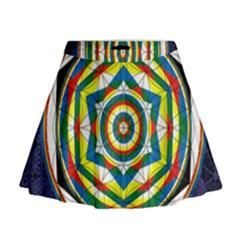 Flower Of Life Universal Mandala Mini Flare Skirt
