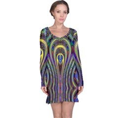Curves Color Abstract Long Sleeve Nightdress