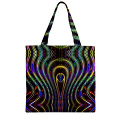 Curves Color Abstract Zipper Grocery Tote Bag