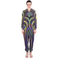 Curves Color Abstract Hooded Jumpsuit (ladies)