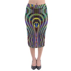 Curves Color Abstract Midi Pencil Skirt