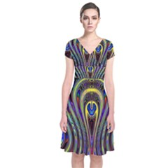 Curves Color Abstract Short Sleeve Front Wrap Dress