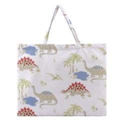 Dinosaur Art Pattern Zipper Large Tote Bag