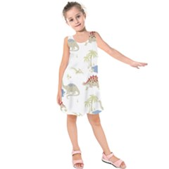 Dinosaur Art Pattern Kids  Sleeveless Dress