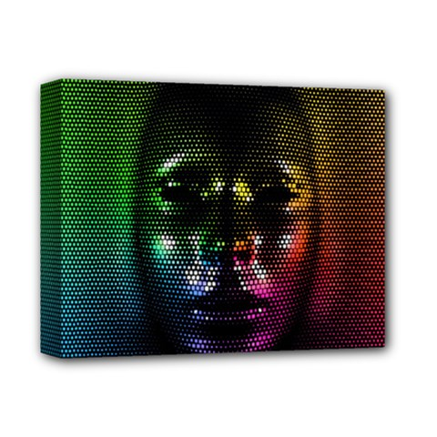 Digital Art Psychedelic Face Skull Color Deluxe Canvas 14  X 11