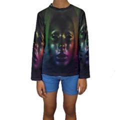 Digital Art Psychedelic Face Skull Color Kids  Long Sleeve Swimwear