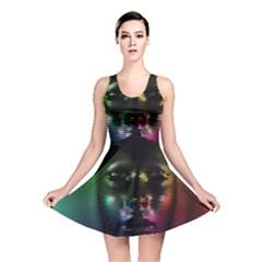 Digital Art Psychedelic Face Skull Color Reversible Skater Dress