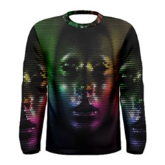 Digital Art Psychedelic Face Skull Color Men s Long Sleeve Tee