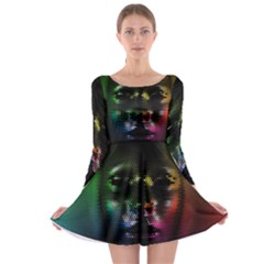 Digital Art Psychedelic Face Skull Color Long Sleeve Skater Dress