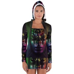 Digital Art Psychedelic Face Skull Color Long Sleeve Hooded T Shirt