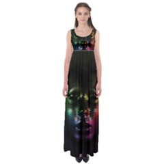 Digital Art Psychedelic Face Skull Color Empire Waist Maxi Dress