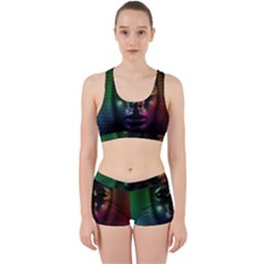 Digital Art Psychedelic Face Skull Color Work It Out Sports Bra Set