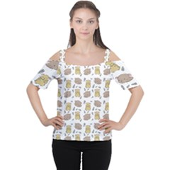 Cute Hamster Pattern Cutout Shoulder Tee