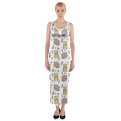 Cute Hamster Pattern Fitted Maxi Dress