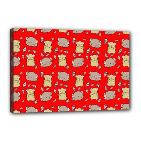 Cute Hamster Pattern Red Background Canvas 18  X 12