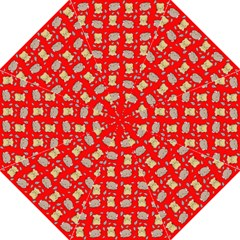 Cute Hamster Pattern Red Background Straight Umbrellas